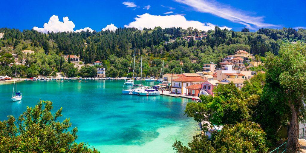 Blue green waters in Paxoi island Greece