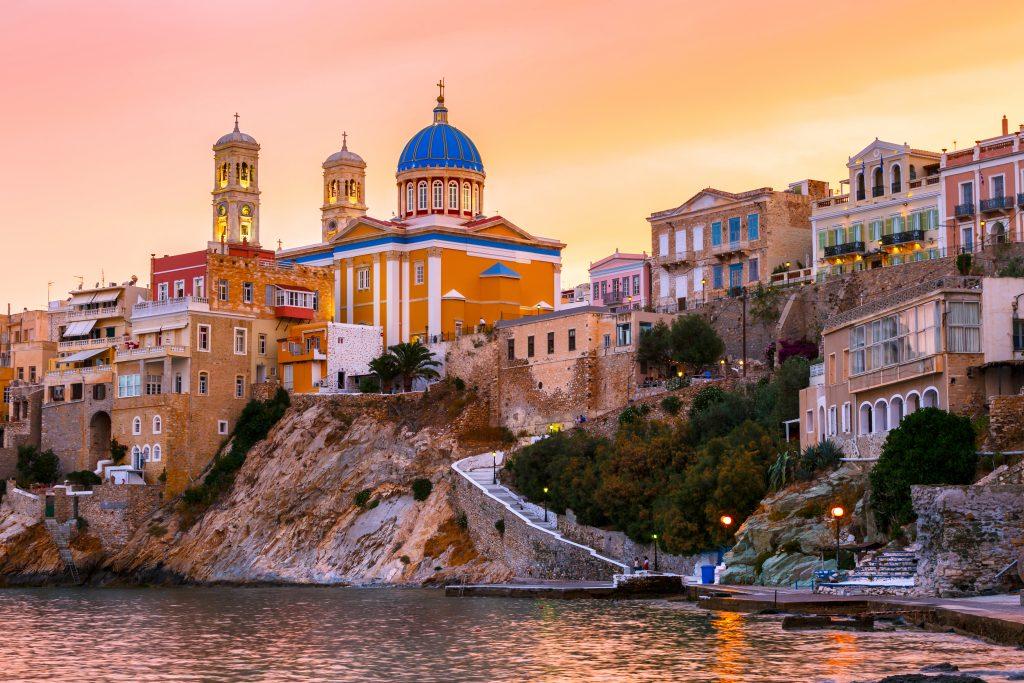 Sunset at Syros island