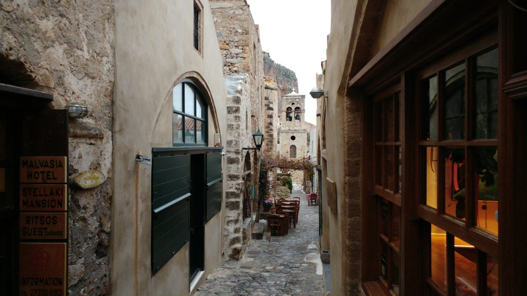 Narrow alleys in Monemvasia